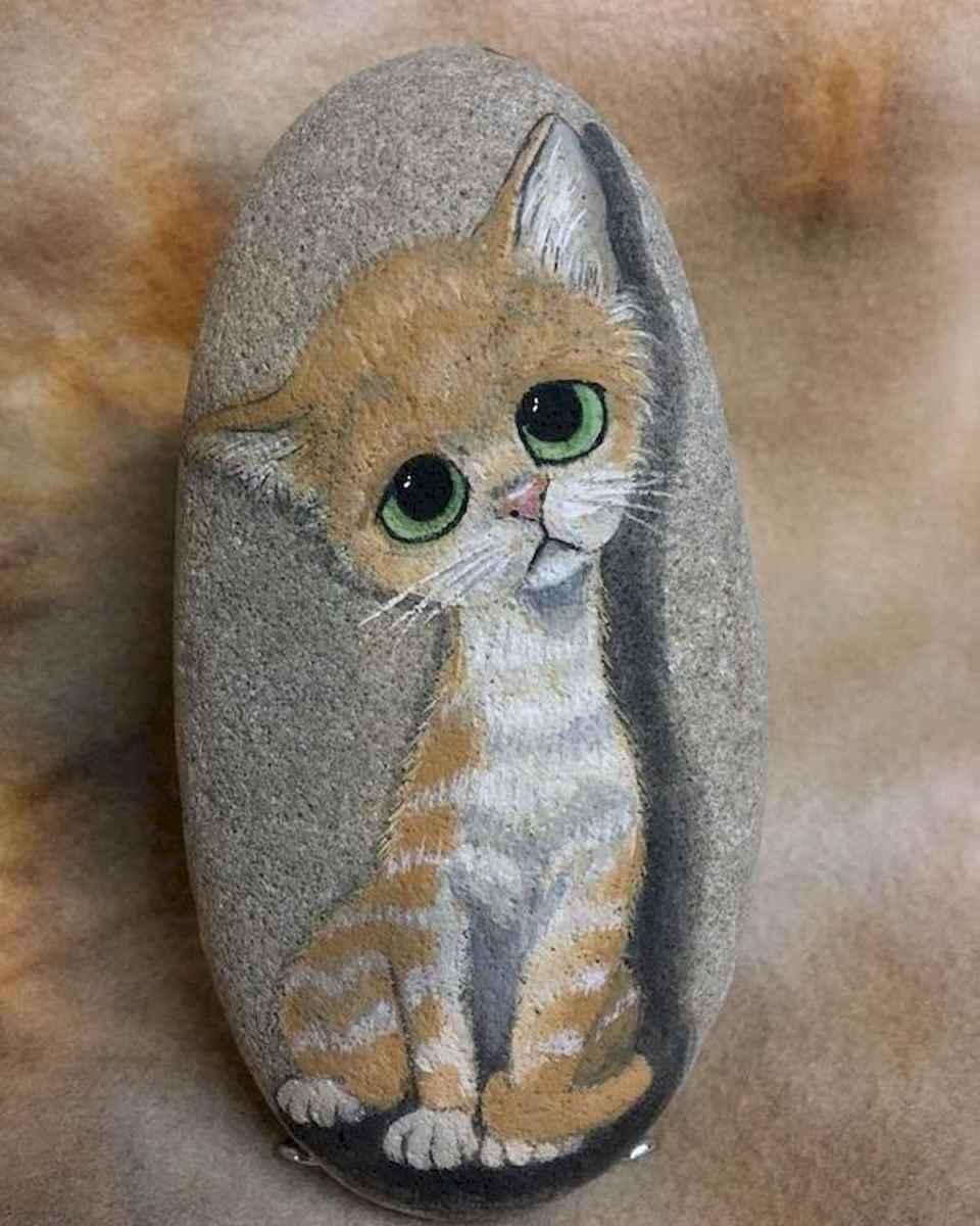50 Inspiring DIY Painted Rocks Animals Cats for Summer Ideas (33)