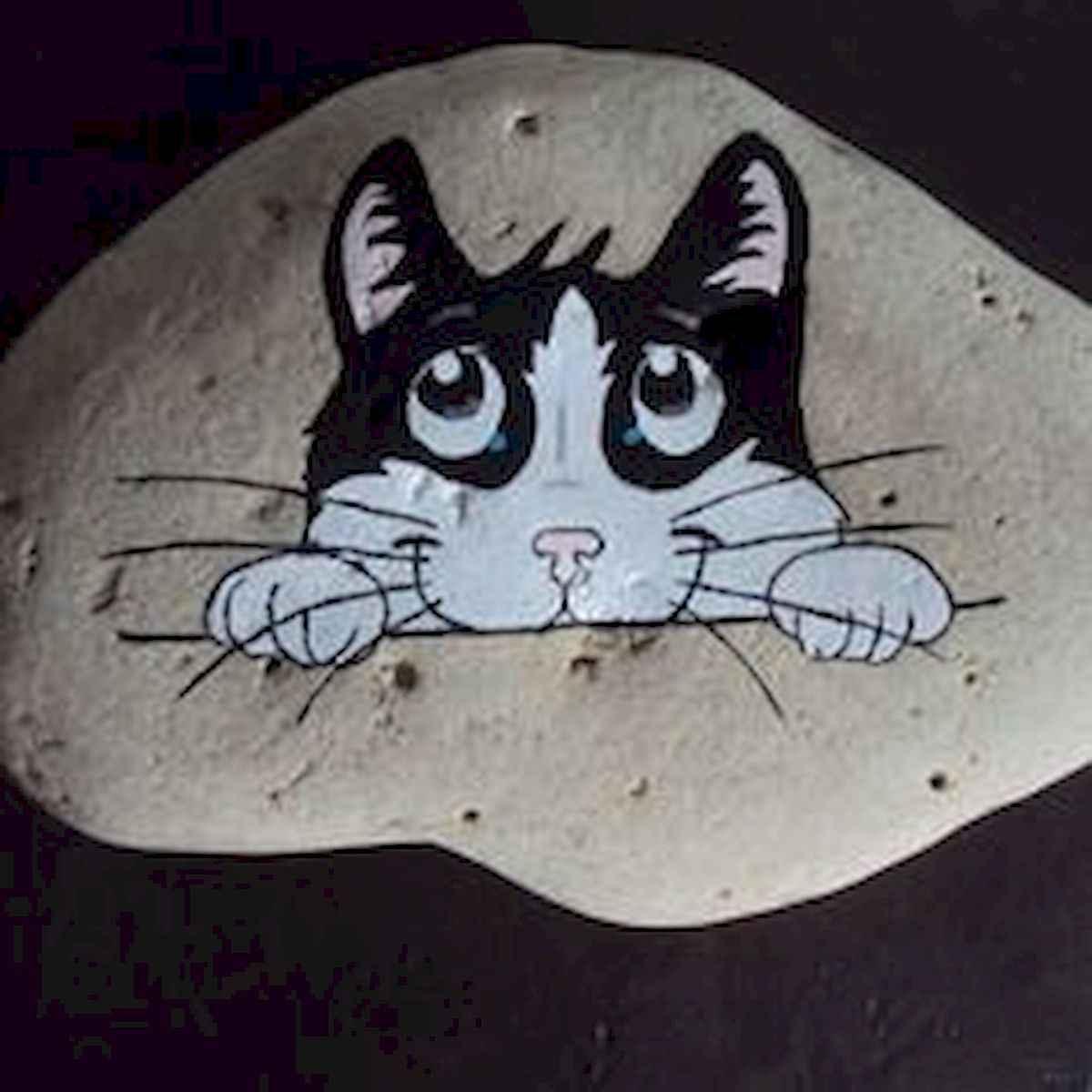 50 Inspiring DIY Painted Rocks Animals Cats for Summer Ideas (43)