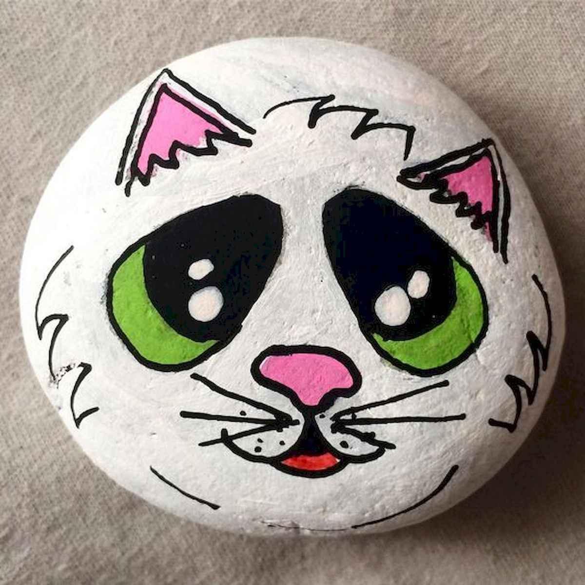 50 Inspiring DIY Painted Rocks Animals Cats for Summer Ideas (6)