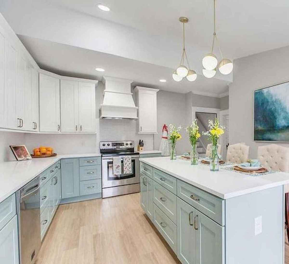 60 Lovely Painted Kitchen Cabinets Two Tone Design Ideas (13)