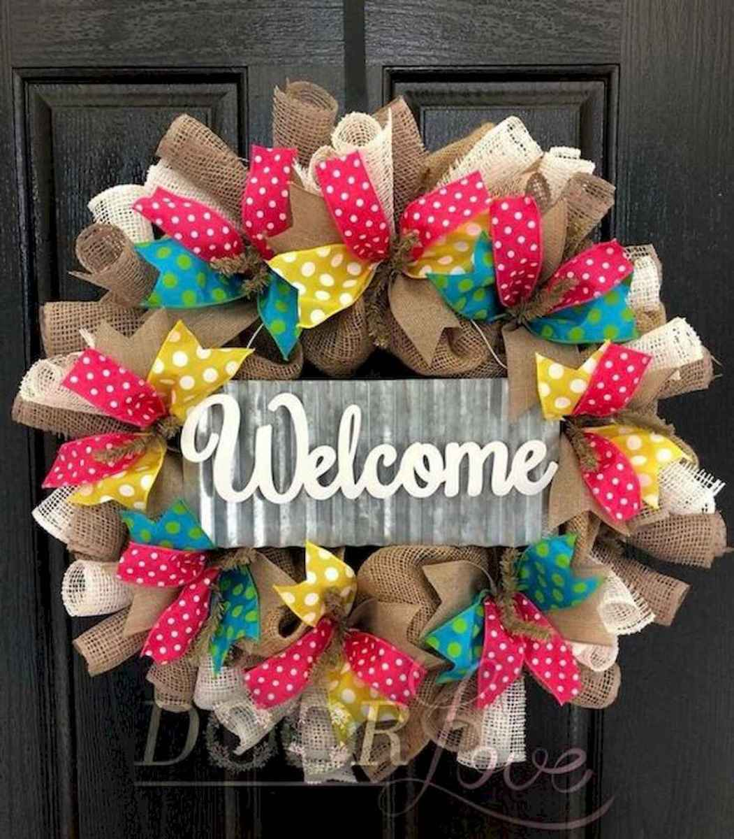 60 Beautiful Front Door Summer Wreath Decor Ideas (54)