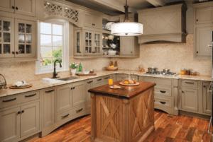 wood island with custom cabinets
