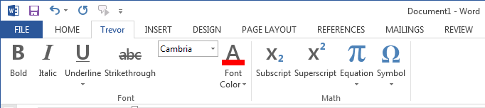 Custom Math tab created for MS Word.