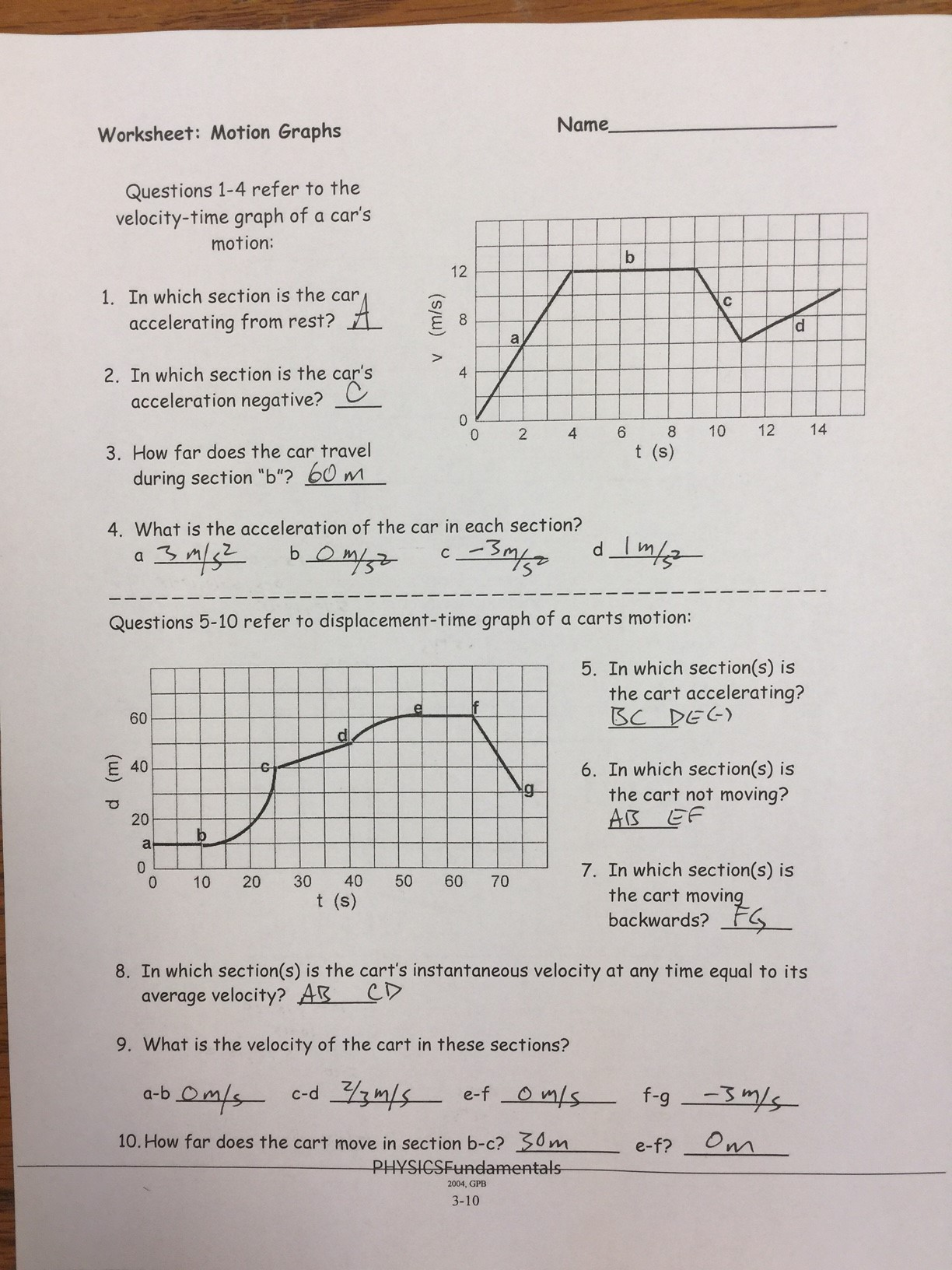 30 Motion Graphysis Worksheet Answer Key