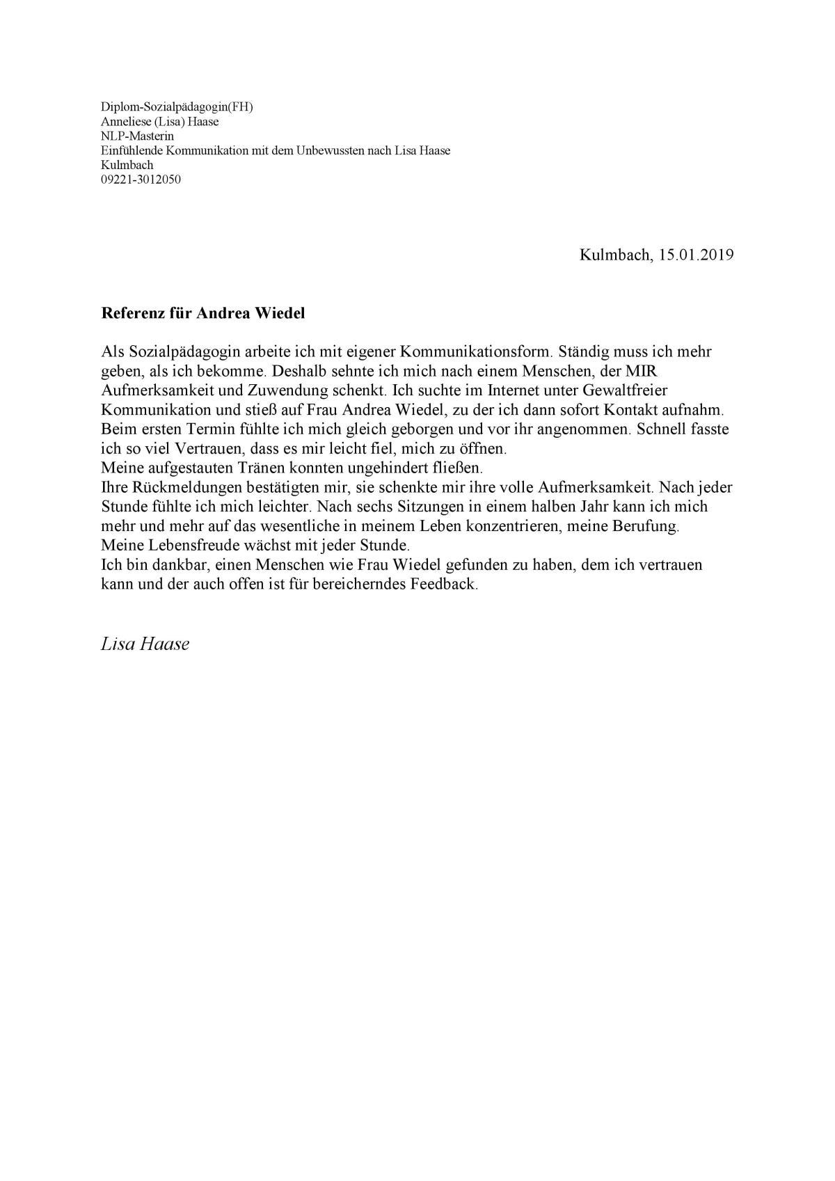 Referenz für Coaching Andrea Wiedel