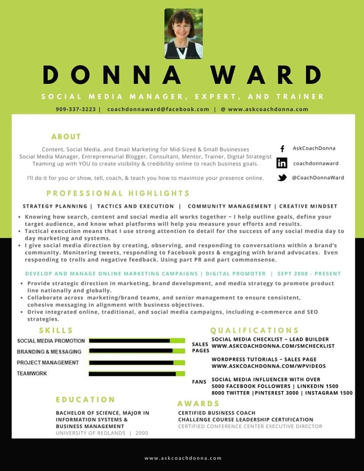 Donna Ward Social Media Resume