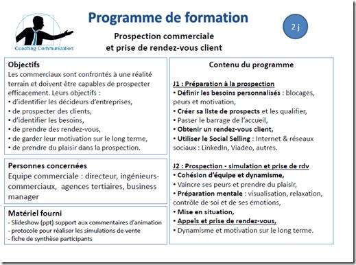 programme de formation prospection commerciale
