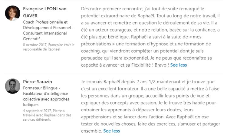 recommandation LinkedIn raphael