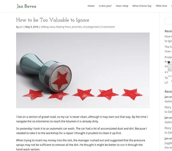 Jan's blog writing tip to engage readers