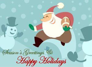 Football Santa Happy Holidays
