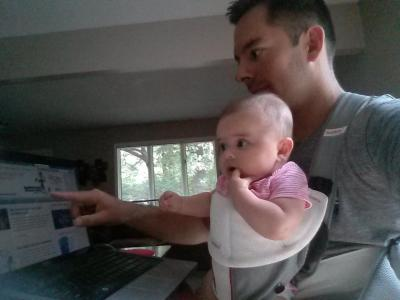 Me Teaching My 6 Month Old Daughter How To Set Up A Blog (lol...obviously I'm j/k)