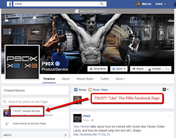 P90x Facebook Likes