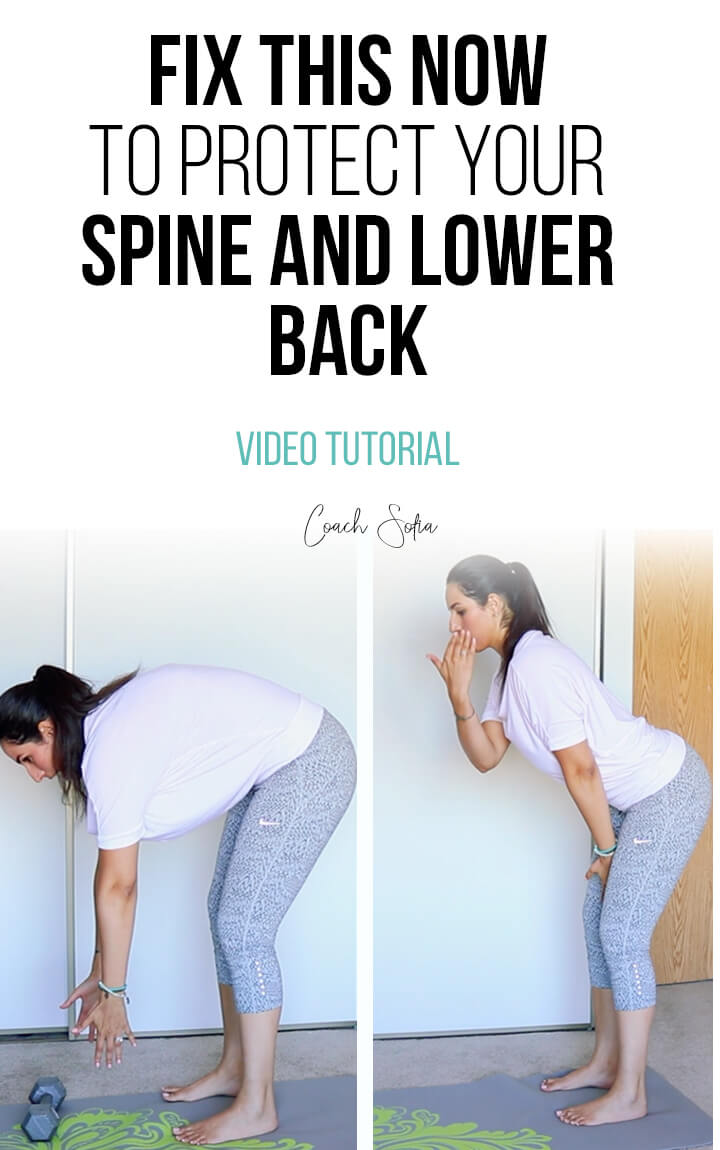 Protect your lower back and spine when you bend over with this quick fix. This video post will show you step by step how to activate your core and move from the hips. If you get lower back pain or hip pain when you bend you have to fix this now. No back pain exercise can fix this movement flaw.