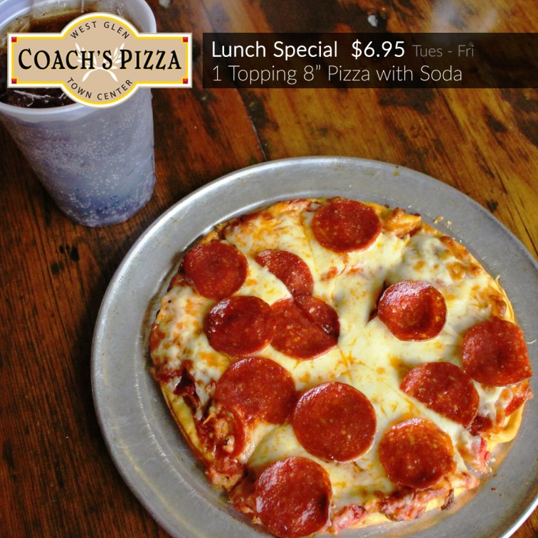 "Lunch Special: 1 Topping 8"" pizza with soda $6.95"