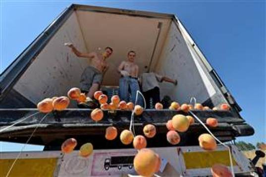 Russian workers throw peaches off a truck outside the city of Novozybkov. - / AFP - Getty Images