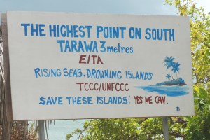 Sign on Kiribati's island of Tarawa. Photo: flickr