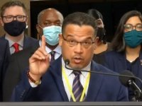 Attorney General Keith Ellison reacts to Chauvin guilty verdicts