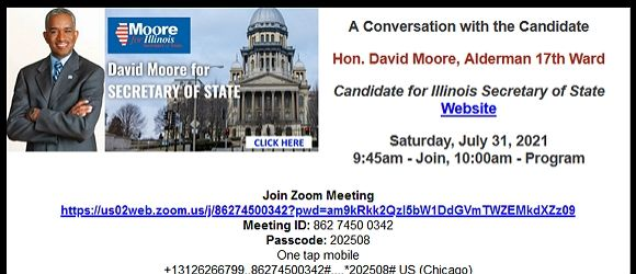 COAL Reminder - Ald. David Moore - Candidate for Secretary of State - 7/31
