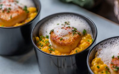 Pumpkin and Spinach Risotto with Scallops