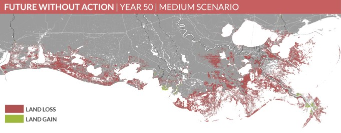 Predicted land change over the next 50 years with no action. Coastal Protection and Restoration Authority of Louisiana. 2017.