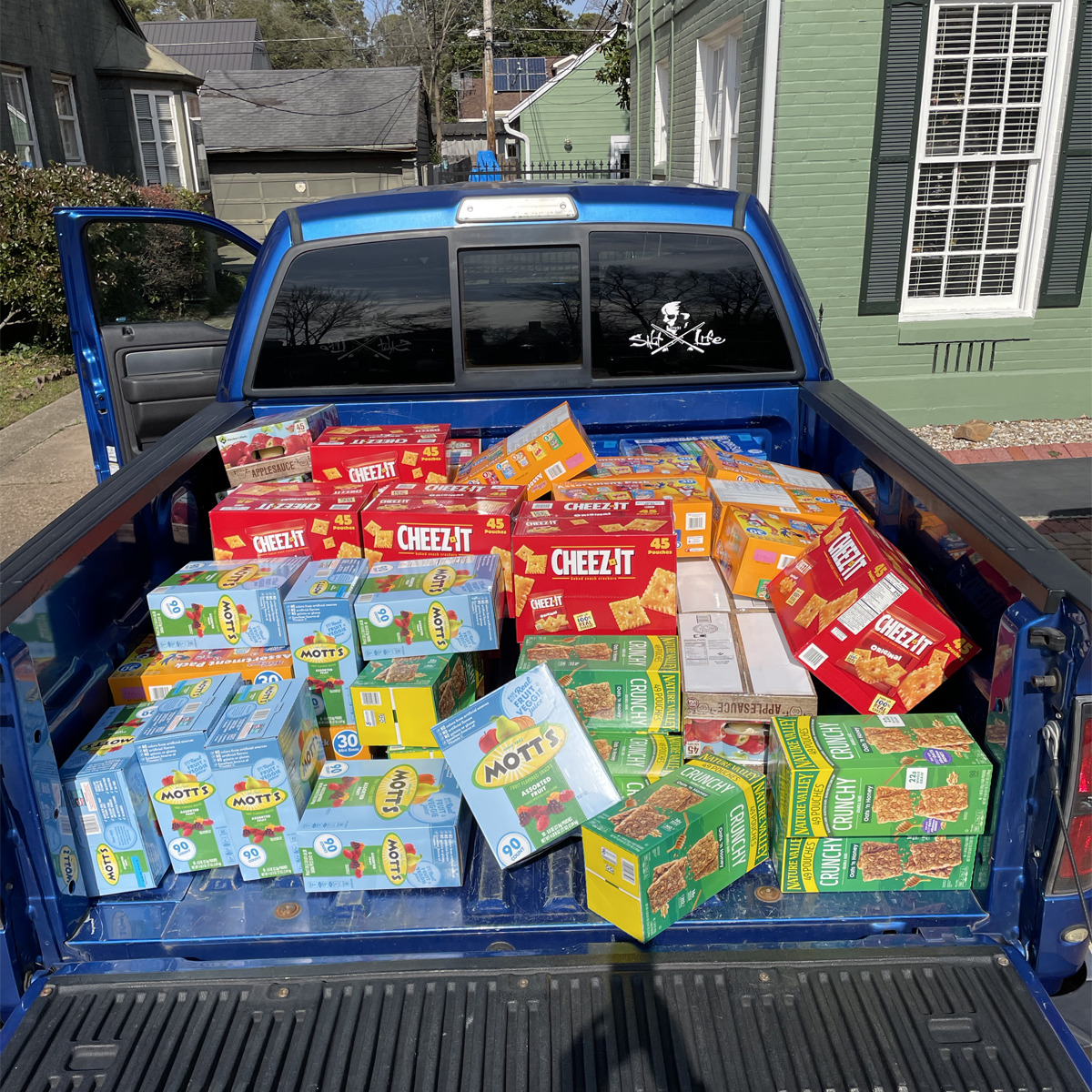 truck filled with food donations