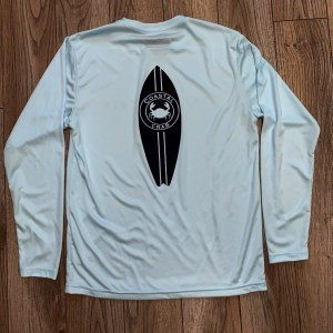 Youth Long Sleeve Performance T-Shirt Light Blue with Navy Imprint
