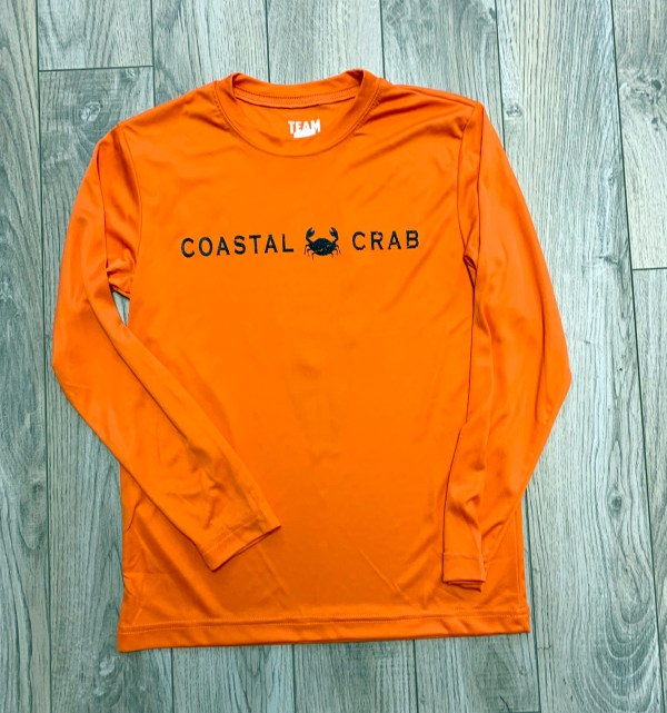 Youth Long Sleeve Performance T-Shirt Orange with Navy Imprint