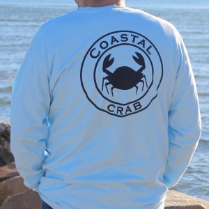 Adult Long Sleeve T-Shirt Light Blue with Navy