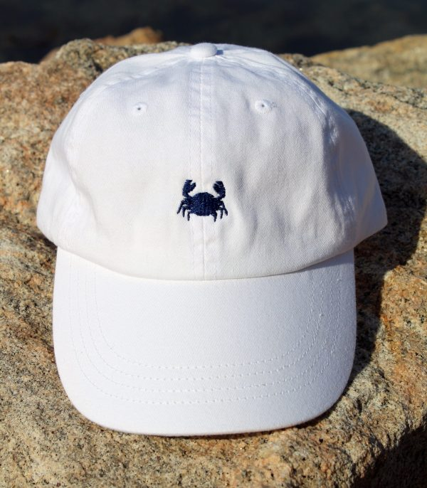 White with Navy Embroidery