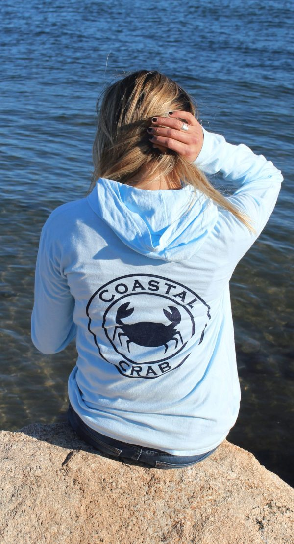 Adult Long Sleeve Hooded T-Shirt Light Blue with Navy