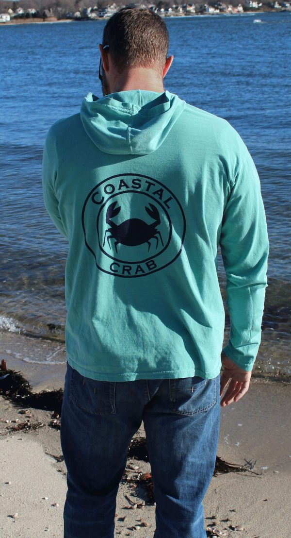 Adult Long Sleeve Hooded T-Shirt Seafoam with Navy