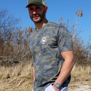 Adult camo t-shirt white imprint
