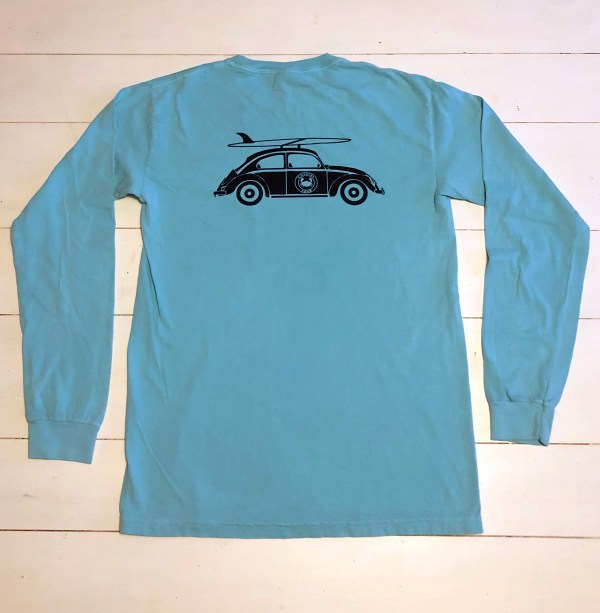 Adult Long Sleeve T-Shirt Chalky Mint with Navy Bug