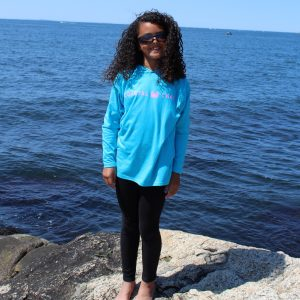 Youth Long Sleeve Hooded T-Shirt Turquoise with Pink imprint