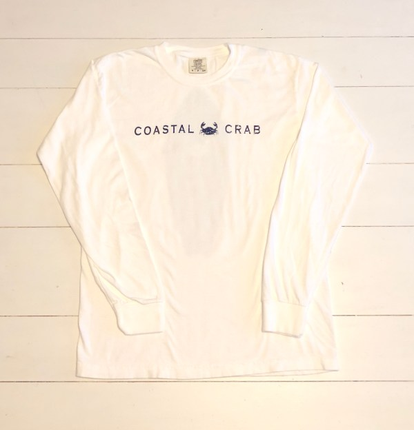 Adult Long Sleeve T-Shirt White with Navy Surfboard