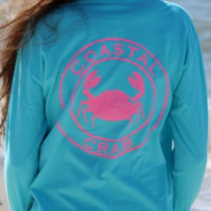 Adult Long Sleeve T-Shirt Turquoise with Pink Imprint