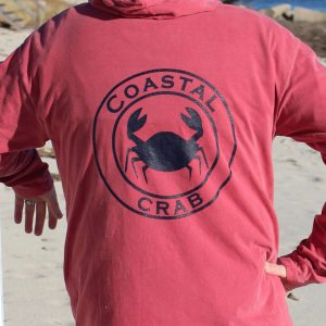 Adult Long Sleeve Hooded T-Shirt Nantucket Red with Navy