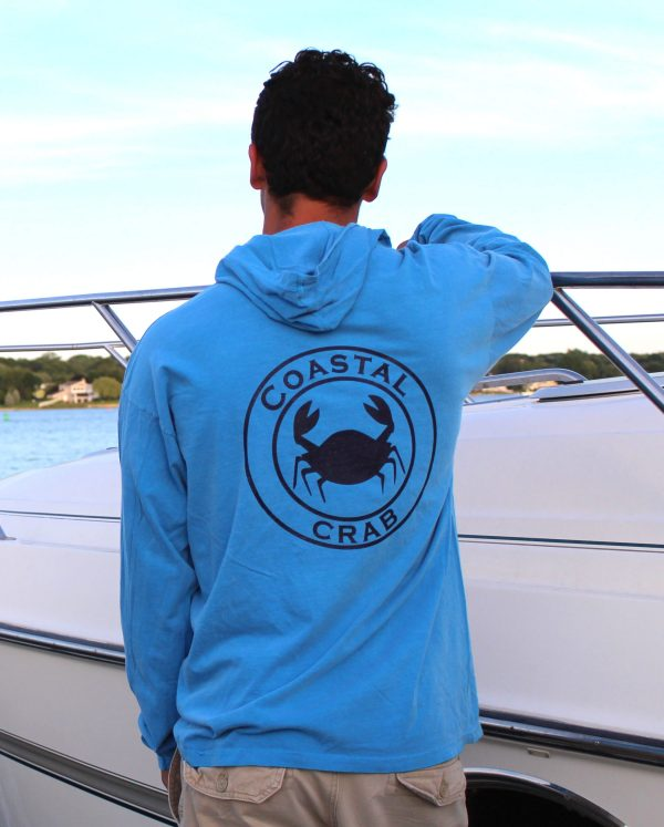 Adult Long Sleeve Hooded T-Shirt Bright Blue with Navy