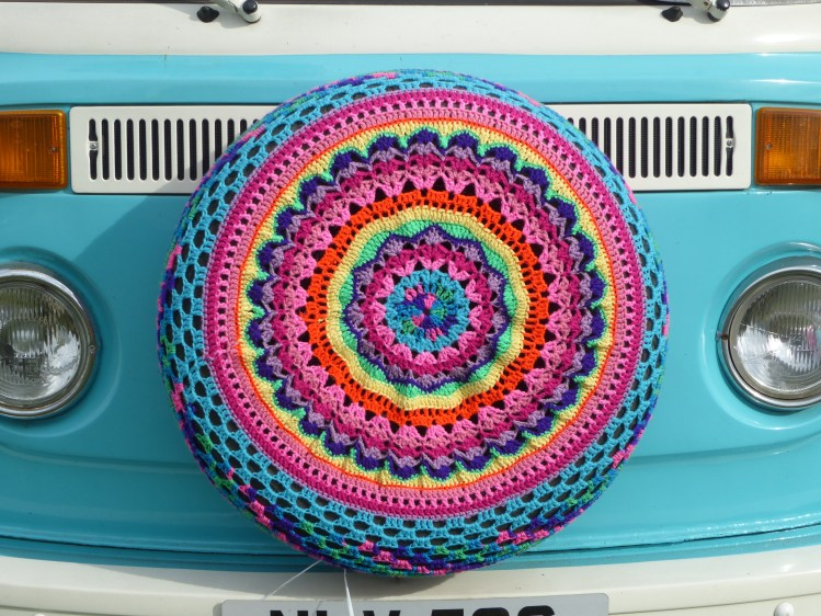 I absolutely loved this campervan spare wheel cover. The family who owned it said they had bought it online and had it shipped over from the USA