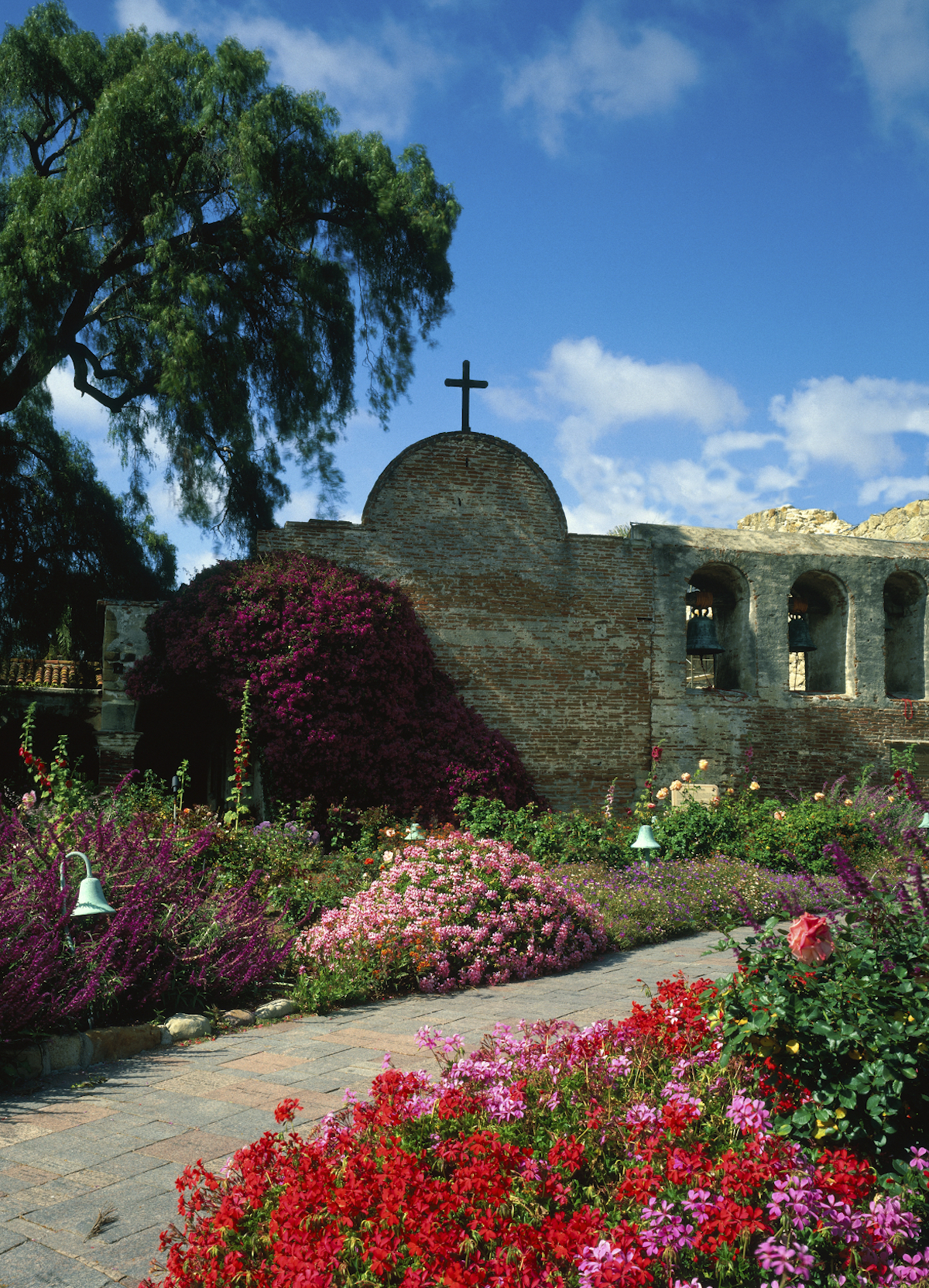 The gardens in bloom at San Juan Capistrano landmark