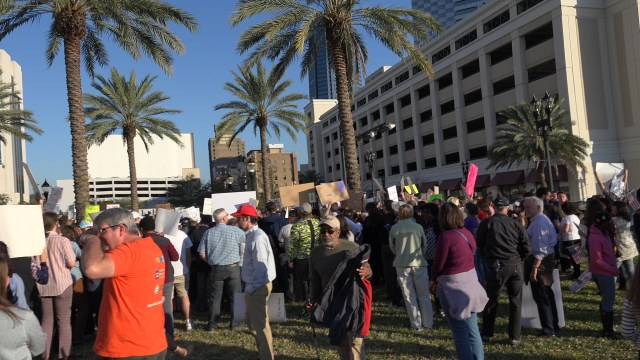 Crowd at protest in Jacksonville, FL