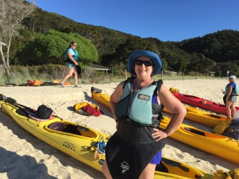 Stylishly attired for kayaking