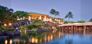 A view of the Grand Hyatt Kaua'i from the lower lawns