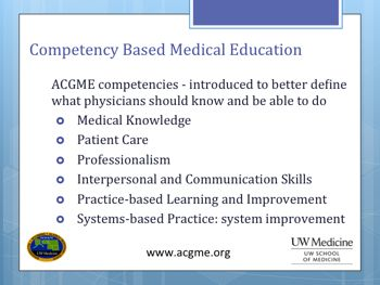 25PHCA ALLEN SLIDE 5 AGCME 6 COMPETENCIES