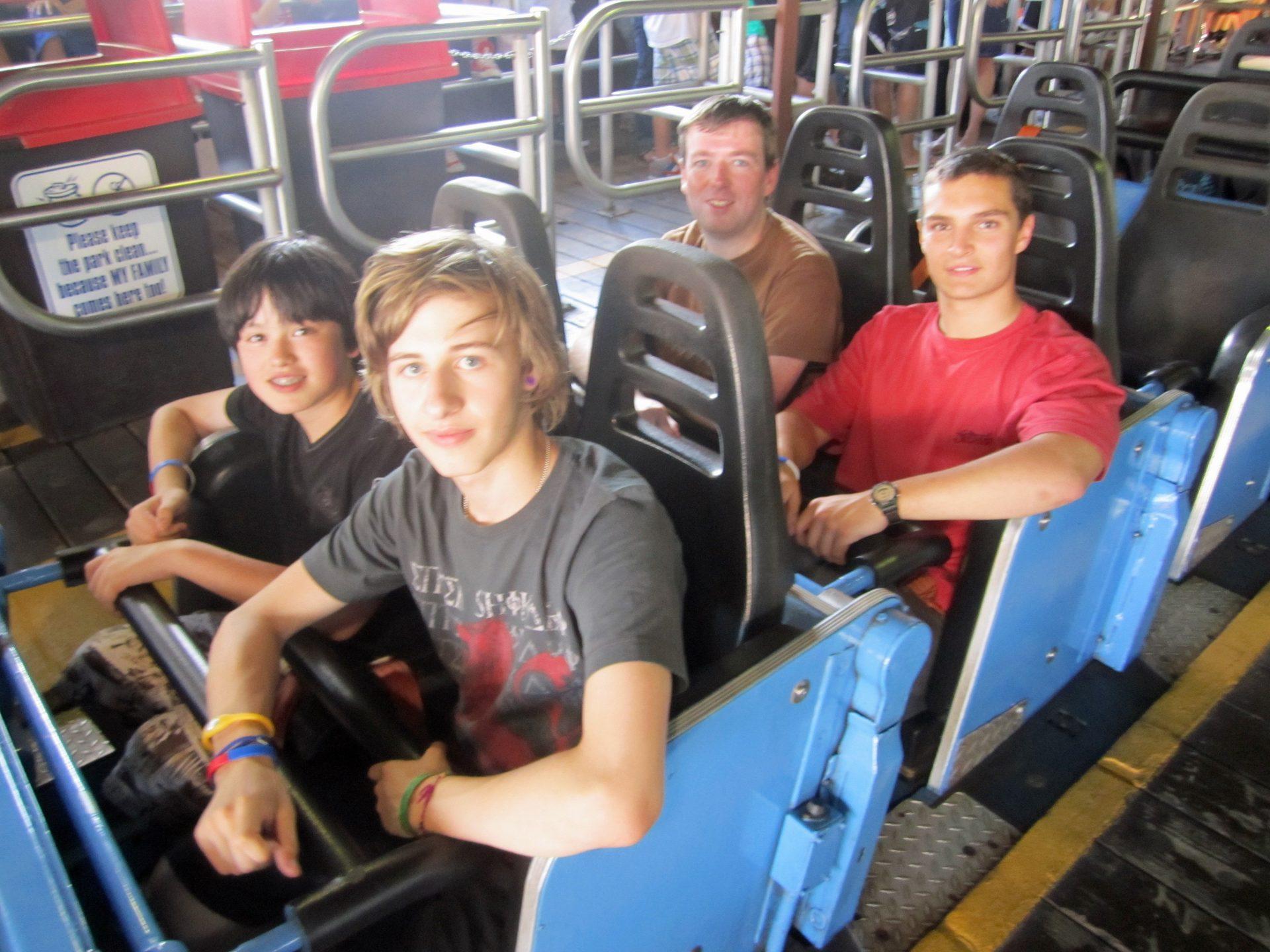 Lapbar bar coaster roller lap and harness shoulder