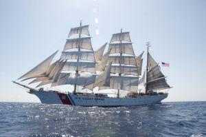 The U.S. Coast Guard Cutter Eagle transits the Caribbean Ocean under full sail