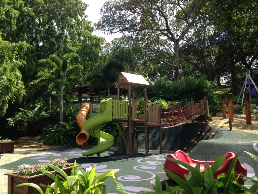 View of the adventure play area in Roma Street Parklands