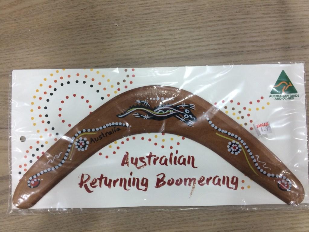 A fake indigenous boomerang