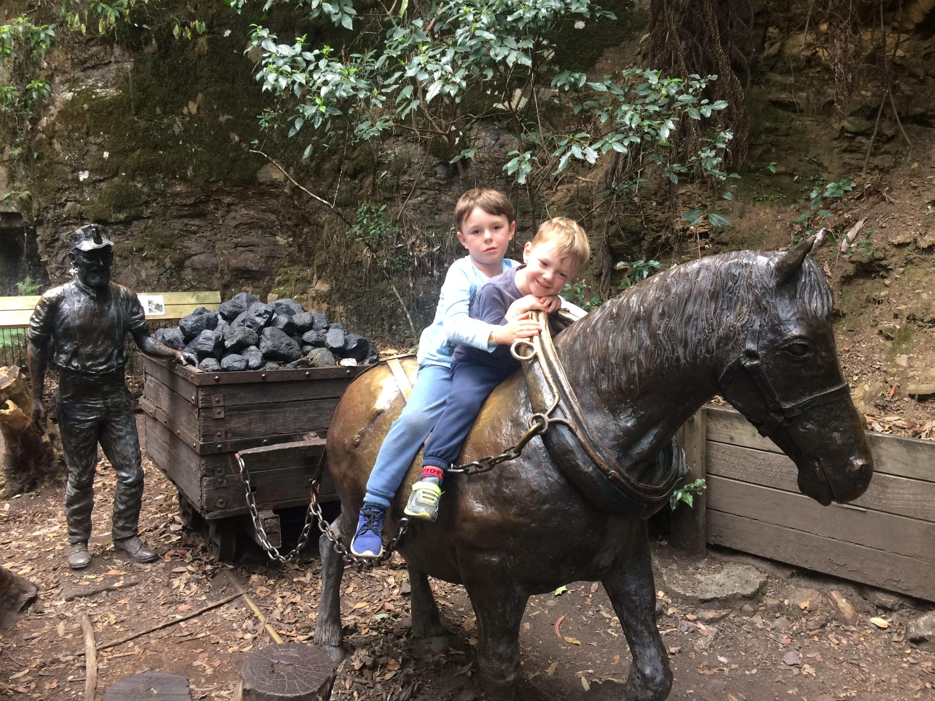 Our boys on a bronze horse at Scenic World Blue Mountains Scenic World Blue Mountains - Scenic Skyway