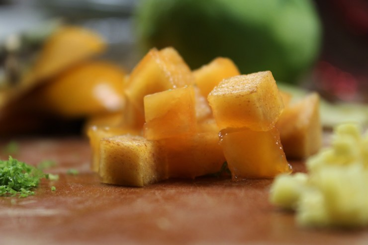 Diced persimmons with a little lime zest and ginger.